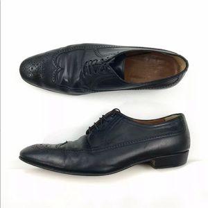 A. TESTONI Black Leather Captoe Dress Shoes 9.5